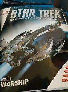 #69 Star Trek Breen Warship Die Cast Metal Ship-UK//Eaglemoss w Mag