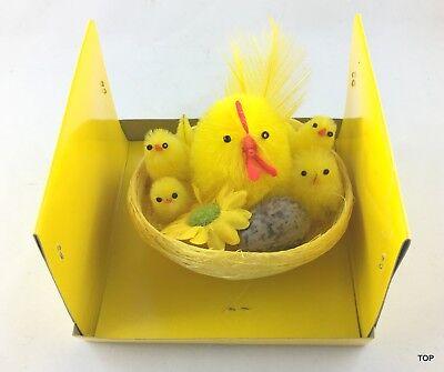 Osterdeko Chenille Kücken Ostern Hahn im Nest ca 10 cm in PVC Box