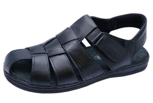 Homme en Cuir Touch Strap Noir Sentier De Randonnée Été Décontracté Sandale Chaussures 7-12