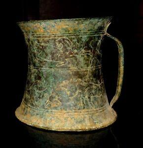 Selten Vase Persisch aus Bronze - 1250/650 Bc- Ancient Verziert Schiff