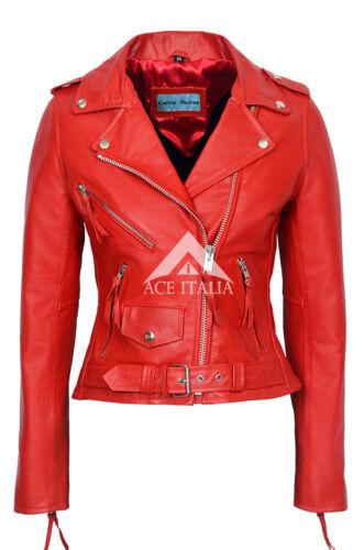 Red Biker Ladies Leather Classic Motorcycle Hide Cruiser Jacket Brando Style FEpqBPnwq
