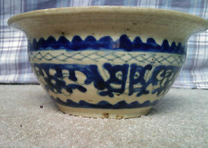 CHINESE-OR-ASIAN-MING-OR-EARLY-QING-DYNASTY-POTTERY-BOWL-BLUE-WHITE-GLAZE-POT