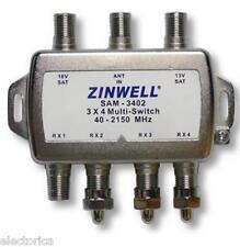 3X4 MULTI-SWITCH QUAD OUTPUT LNB ZINWELL SW34 2X4 SW24 SW34 BELL SATELLITE LNBF