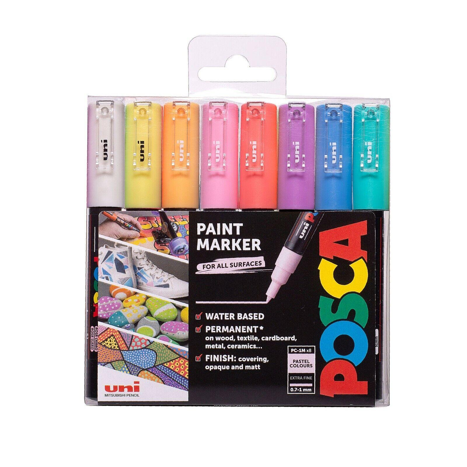Metallisch Satz von 8 Uni Posca PC-5M Farbe Marker Stifte Kunst in