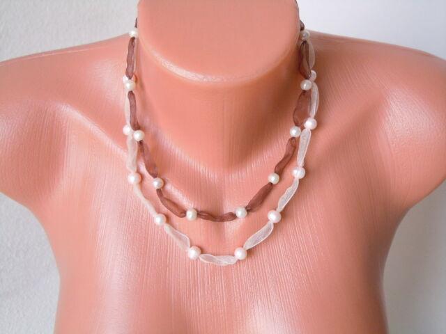 2 x Seidenband Binde Kette Braun/Creme mit Perlen Gewicht 16 g/Länge je ca 67 cm