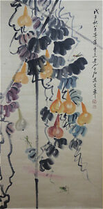 Excellent-Chinese-100-Handed-Painting-amp-Scroll-034-Gourd-034-By-Qi-baishi-AW4