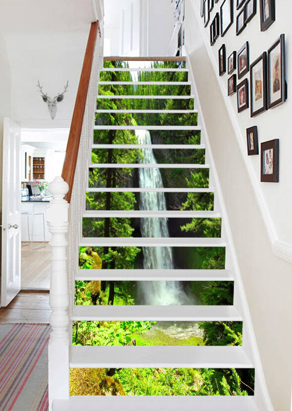 3D Waterfall Forest 757 Risers Decoration Photo Mural Vinyl Decal Wallpaper CA