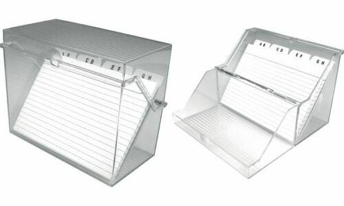 helit Klein-Karteikasten Lernkartei A7 quer glasklar Karten liniert A-Z Register