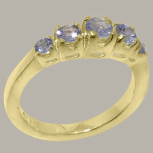 Solid-14k-Yellow-Gold-Natural-Tanzanite-Womens-band-Ring-Sizes-J-to-Z