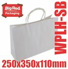100 Boutique White Kraft Paper Gift Shopping Bags Twist Rope Handle 250x350x110