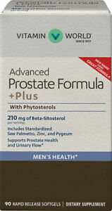 Vitamin World Advanced Prostate Formula +Plus w/ Phytosterols - 90 Softgels
