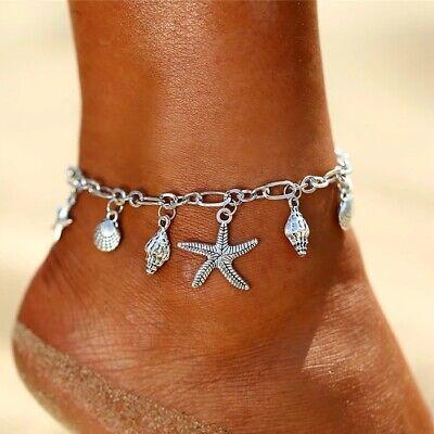 Para mujer Pulsera de Tobillo estrellas de mar conchas de Plata Cadena de pierna encanto tobillera Joyas UK