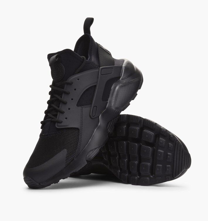 RARE OG NIKE AIR HUARACHE RUN ULTRA MEN'S TRAINERS, UK9, TRIPLE BLACK, 819685002