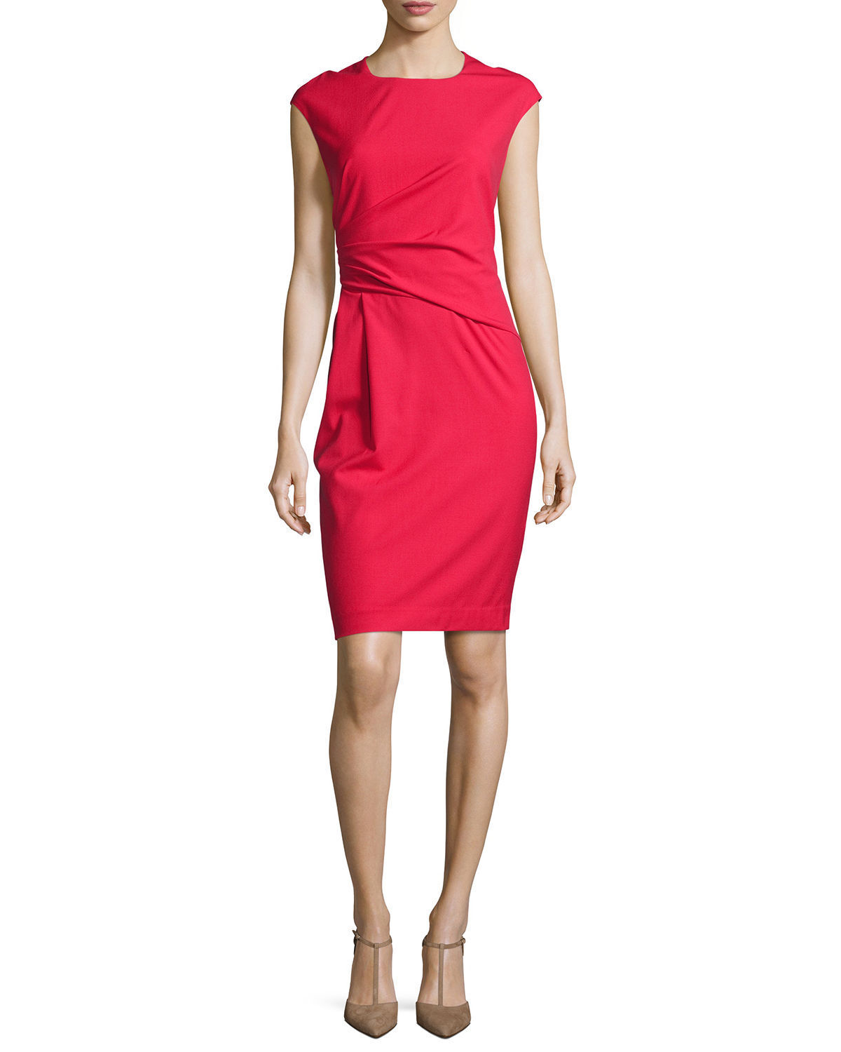 Lafayette 148 New York Size 10 Red Spark Side-Ruched Sheath Dress Msrp  428.00