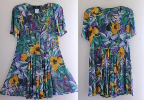 Carole Little 6 8 P vtg 80s Floral Rayon Summer Ar