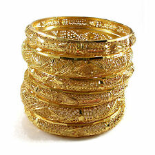 Rabbi Gold-plated 6pc Flora Net Bridal Bangles Set kada bracelet  (size 2.8)