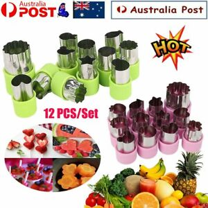 12Pcs Stainless Steel Mini Fruit Vegetable Cookie Shape Cutter Mould Food MoldHG