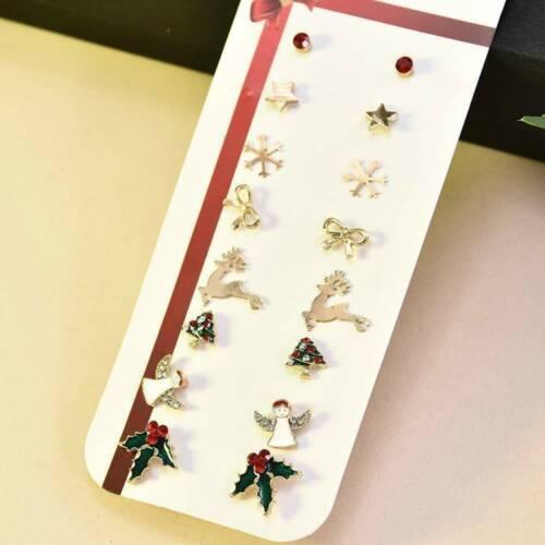 8 pares//Conjunto de árbol de Navidad Muñeco de Nieve Deer Campana Navidad Fiesta Joyería De Oreja Aretes