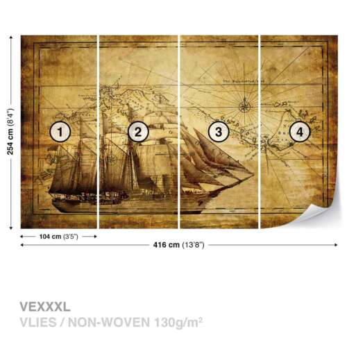WALL MURAL PHOTO WALLPAPER XXL Vintage Ship Map 022WS
