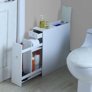 Bathroom Floor Cabinet Slim Space Saver Storage Furniture ...