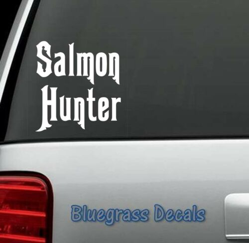 A1150 SALMON HUNTER WINDOW DECAL STICKER LAPTOP TRUCK SUV VAN BOAT LAPTOP MAC