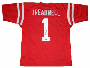 buy popular e9b26 c343b Details about LAQUON TREADWELL SIGNED AUTOGRAPHED MISSISSIPPI OLE MISS  REBELS #1 RED JERSEY