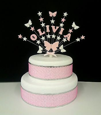 Swell Personalised Butterfly Star Custom Birthday Christening Cake Funny Birthday Cards Online Alyptdamsfinfo