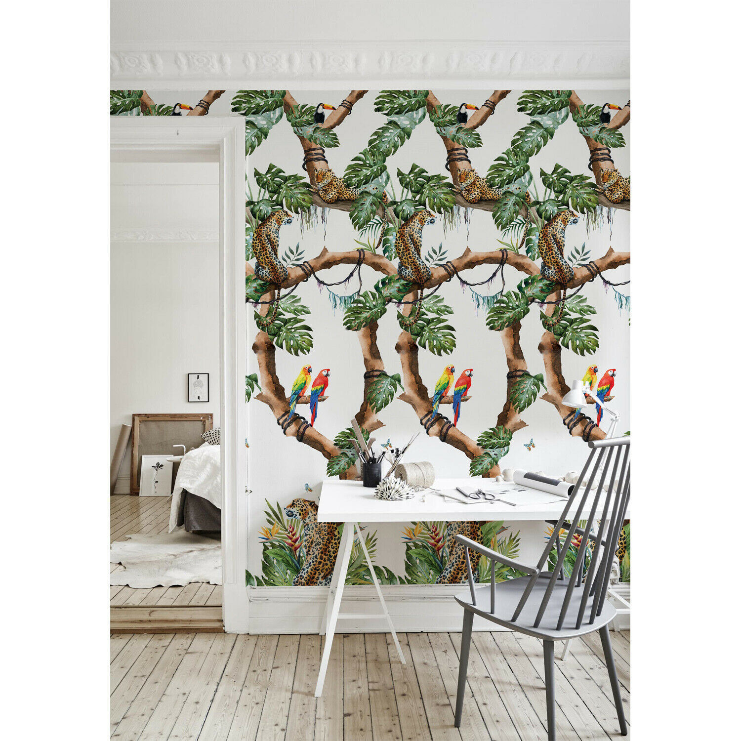 Removable wallpaper Tropical Cheetahs Floral Tropical Wall Covering Mural