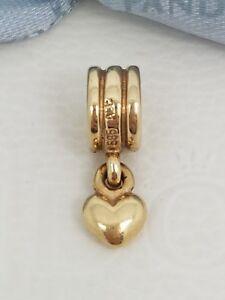 Authentic-14K-14ct-Gold-Pandora-Heart-Dangle-Charm-Retired-750198