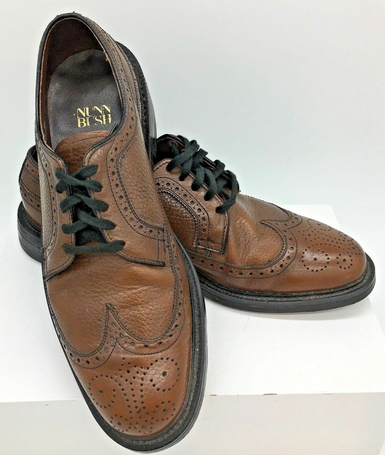 Vintage Mens Nunn Bush Scotch Brown Pebble Grain Wing Tips 8D Made in Ireland