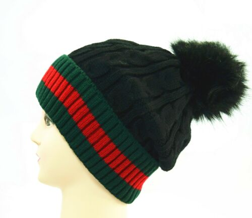 For Womens Winter Knitted Slouchy Baggy Beanie Oversize Fur Pom-Pom Hat Cap Lot