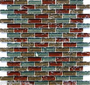 sample natural red blue crackle glass mosaic tile kitchen