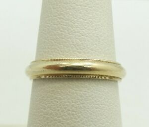14K-Yellow-Gold-3-5mm-Domed-Wedding-Band-Ring-Size-6-5-3-4g-D9179