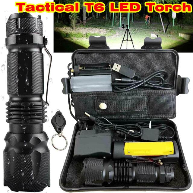 2 PCS 20000LM XML-T6 LED Flashlight ZOOMABLE Portable COB Work Light Lantern