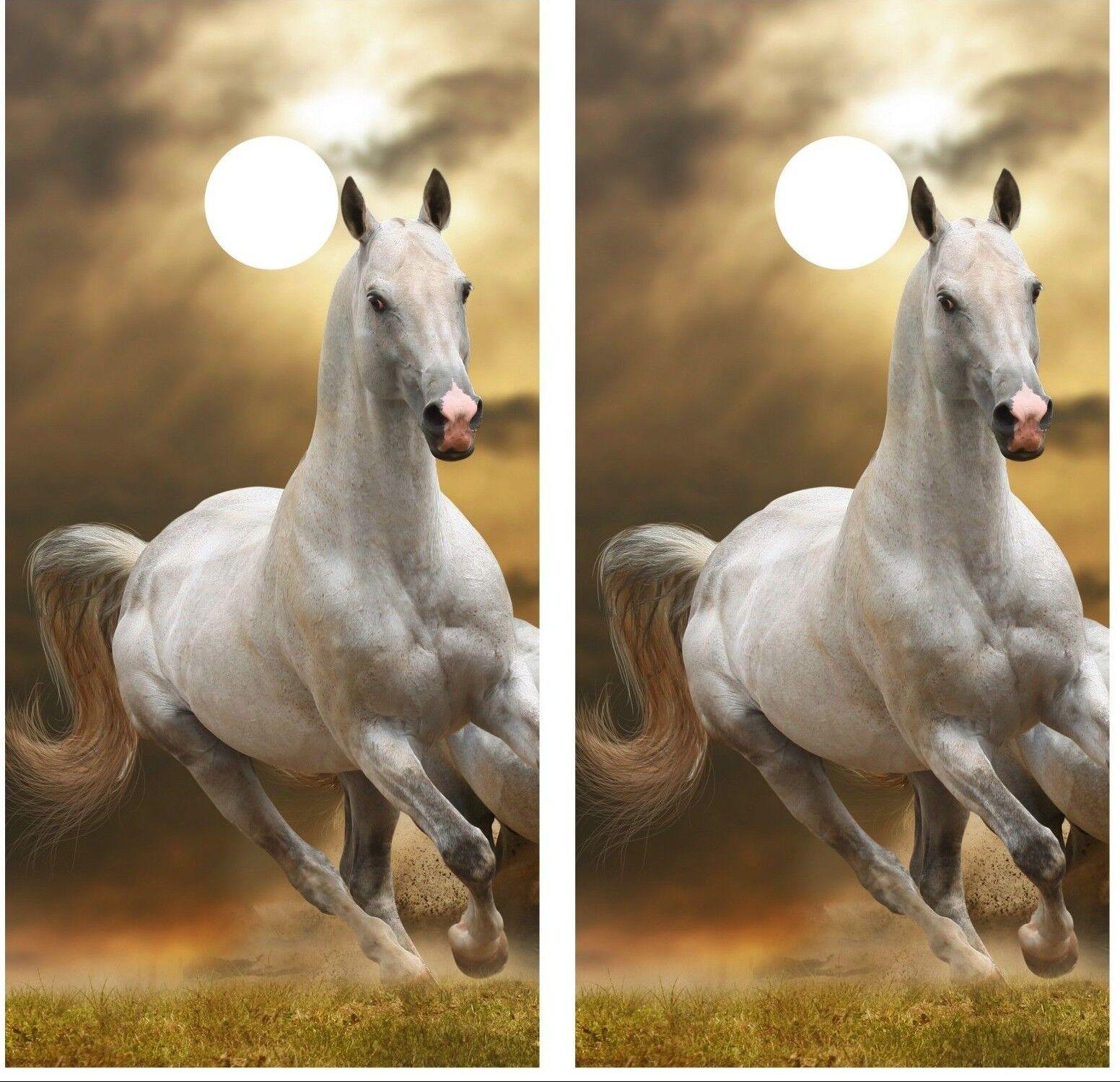 White Horse Running Cornhole Board Decal Wrap Wraps