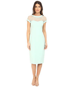 6ccb662a Image is loading MAGGY-LONDON-ILLUSIONS-YOKE-CREPE-MINT-SHEATH-DRESS-