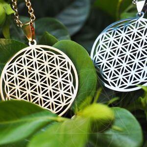Schmuck-Heilige-Geometrie-Halskette-Blume-Des-Lebens-Anhaenger-Silberkette