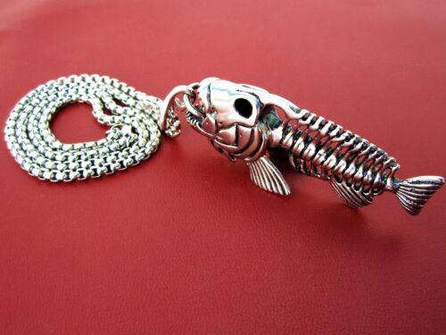 Set remolque de acero inoxidable pescado esqueleto /& collar Biker joyas Biker Angler cadena