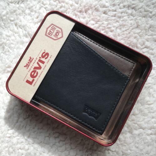 Levi's Men's Leather RFID Blocking Connor Slimfold Wallet Black