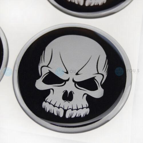 4 x silicona tapacubos embellecedores cubierta pegatinas calavera emblema 75 mm