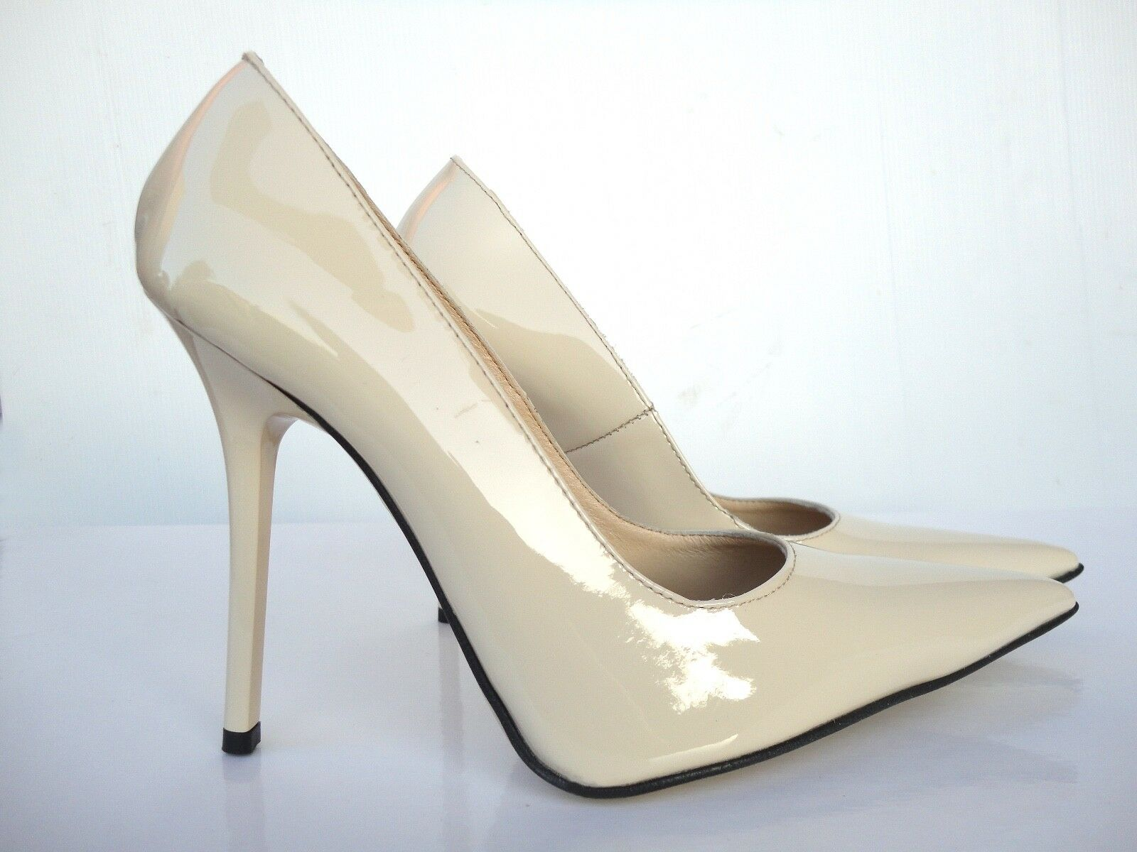 MADE IN ITALY LUXUS HAND MADE HIGH HEELS POINTY PUMPS SCHUHE LEDER BEIGE NUDE 42