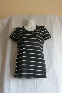 Esti-Couture-Women-s-Black-amp-White-Striped-T-Shirt-Short-Sleeve-V-Neck-Size-XL