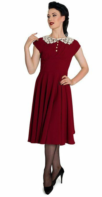 Hell Bunny 50's Vintage Style Crochet Collar Emilie Dress in Ox Blood