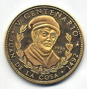 Paises-del-Caribe-50-Pesos-1990-oro-Juan-de-la-Cosa-PROOF