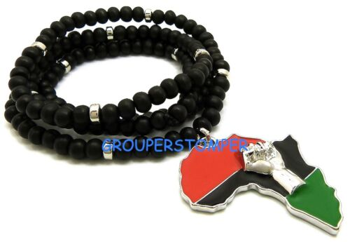 Power Fist On Pan-African Africa Pendant with 32 Inch Long Wood Bead Necklace