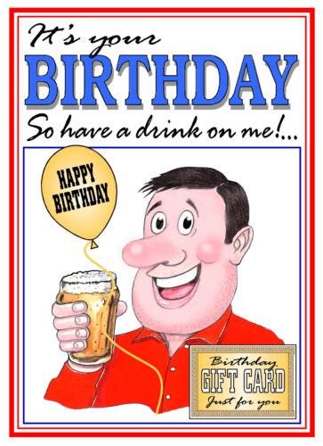 Buveurs ont une boisson sur moi Blague Sachet de Thé Homme Carte d/'anniversaire Free Post 1ST Classe