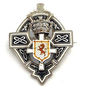 Antique-Scotish-Enamel-Sterling-Order-Badge-Pin-Medal