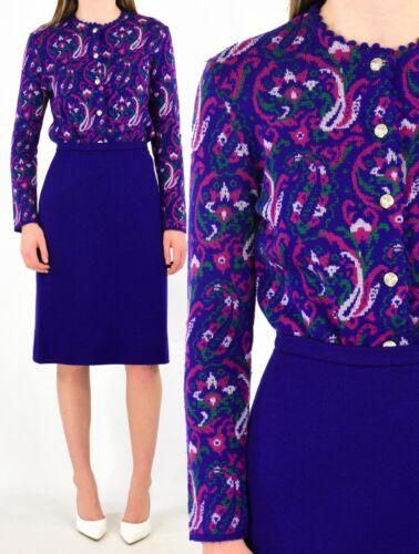 50s Vintage Purple Wool Jacquard Print Skirt Suit