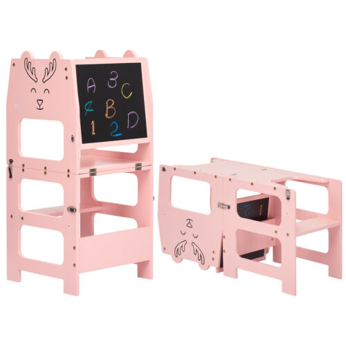 Kids Drawing Board Learning Step Stool with Safety RailSolid Wood Kitchen Indoor