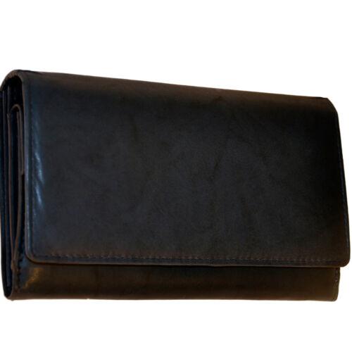 Damen Geldbörse 20 Fächer feines Rindleder Portemonnaie Geldbeutel Geldtasche